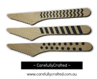 10 Wood Cutlery Knifes - Black - Polka Dot, Stripe, Chevron #WK1