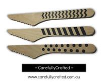 10 Wood Cutlery Knifes - Black - Polka Dot, Stripe, Chevron #WK1