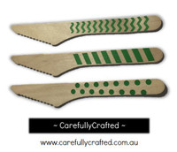 10 Wood Cutlery Knifes - Green - Polka Dot, Stripe, Chevron #WK2