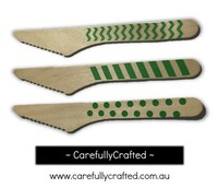 10 Wood Cutlery Knifes - Green - Polka Dot, Stripe, Chevron #WK2