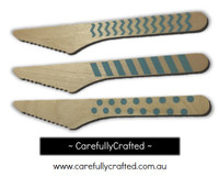 10 Wood Cutlery Knifes - Light Blue - Polka Dot, Stripe, Chevron #WK4