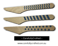 10 Wood Cutlery Knifes - Blue - Polka Dot, Stripe, Chevron #WK6