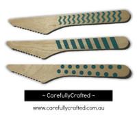 10 Wood Cutlery Knifes - Aqua - Polka Dot, Stripe, Chevron #WK7