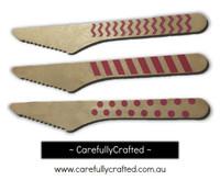 10 Wood Cutlery Knifes - Hot Pink - Polka Dot, Stripe, Chevron #WK8