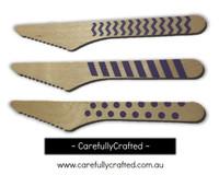 10 Wood Cutlery Knifes - Purple - Polka Dot, Stripe, Chevron #WK9
