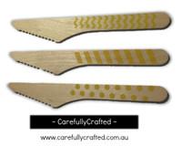 10 Wood Cutlery Knifes - Yellow - Polka Dot, Stripe, Chevron #WK10