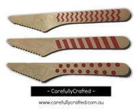 10 Wood Cutlery Knifes - Red - Polka Dot, Stripe, Chevron #WK12