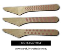 10 Wood Cutlery Knifes - Light Pink - Polka Dot, Stripe, Chevron #WK13