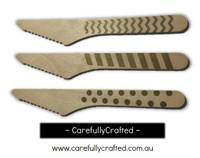 10 Wood Cutlery Knifes - Gold - Polka Dot, Stripe, Chevron #WK14