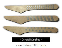 10 Wood Cutlery Knifes - Silver - Polka Dot, Stripe, Chevron #WK15