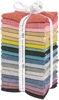 Robert Kaufman Fabric Precuts - Fat Quarter Bundle - Essex Yarn Dyed Metallic Bright