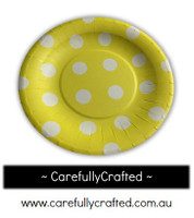 16 Paper Plates - Yellow - Polka Dot #PP6