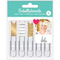American Crafts - Heidi Swapp Paper Clip Flags - Set of 5 - Gold & Silver