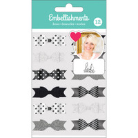 American Crafts - Heidi Swapp Fabric Bows - Set of 12 - Black, White & Silver