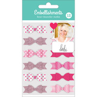 American Crafts - Heidi Swapp Fabric Bows - Set of 12 - Pink