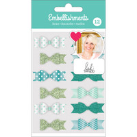 American Crafts - Heidi Swapp Fabric Bows - Set of 12 - Teal