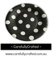 16 Paper Plates - Black - Polka Dots #PP10
