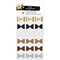 American Crafts - Amy Tangerine - Shine On Mini Faux Leather Bows  - Set of 18