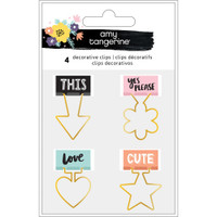 American Crafts - Amy Tangerine - Shine On Shaped Binder Clips  - Set of 4