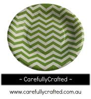 16 Paper Plates - Green - Chevron #PP15