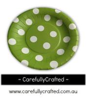 16 Paper Plates - Green - Polka Dots #PP16