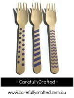 10 Wood Cutlery Forks - Purple - Polka Dot, Stripe, Chevron #WF2