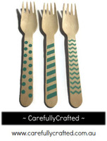 10 Wood Cutlery Forks - Aqua - Polka Dot, Stripe, Chevron #WF3