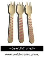 10 Wood Cutlery Forks - Light Pink - Polka Dot, Stripe, Chevron #WF5