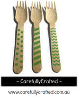 10 Wood Cutlery Forks - Green - Polka Dot, Stripe, Chevron #WF7
