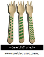 10 Wood Cutlery Forks - Green - Polka Dot, Stripe, Chevron #WF8