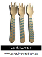 10 Wood Cutlery Forks - Light Blue - Polka Dot, Stripe, Chevron #WF9