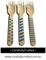 10 Wood Cutlery Forks - Blue - Polka Dot, Stripe, Chevron #WF10