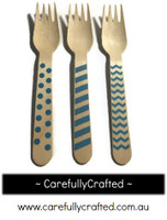 10 Wood Cutlery Forks - Blue - Polka Dot, Stripe, Chevron #WF11