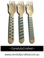 10 Wood Cutlery Forks - Blue - Polka Dot, Stripe, Chevron #WF11