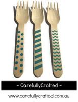 10 Wood Cutlery Forks - Blue - Polka Dot, Stripe, Chevron #WF12