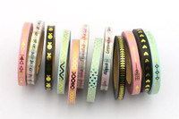 Skinny Washi Tape - Set of 12 - 5mm x 10 metres each - High Quality Masking Tape