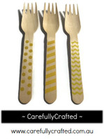 10 Wood Cutlery Forks - Yellow - Polka Dot, Stripe, Chevron #WF13