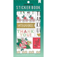 American Crafts - Sticker Book - Lots of Thanks with Gold Glitter