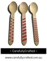 10 Wood Cutlery Spoons - Pink - Polka Dot, Stripe, Chevron #WSC2