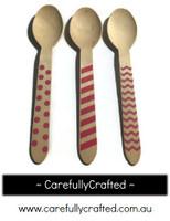10 Wood Cutlery Spoons - Pink - Polka Dot, Stripe, Chevron #WSC2