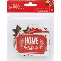Pebbles - Cozy & Bright Ephemera Cardstock Die Cuts - Christmas Phrases - Set of 40