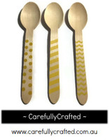 10 Wood Cutlery Spoons - Pink - Polka Dot, Stripe, Chevron #WSC3