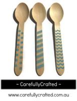 10 Wood Cutlery Spoons - Light Blue - Polka Dot, Stripe, Chevron #WSC4