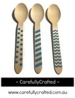 10 Wood Cutlery Spoons - Blue - Polka Dot, Stripe, Chevron #WSC5