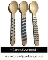 10 Wood Cutlery Spoons - Blue - Polka Dot, Stripe, Chevron #WSC6