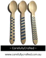 10 Wood Cutlery Spoons - Blue - Polka Dot, Stripe, Chevron #WSC6