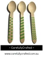 10 Wood Cutlery Spoons - Green - Polka Dot, Stripe, Chevron #WSC7