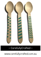 10 Wood Cutlery Spoons - Aqua - Polka Dot, Stripe, Chevron #WSC8