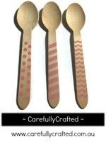 10 Wood Cutlery Spoons - Light Pink - Polka Dot, Stripe, Chevron #WSC9
