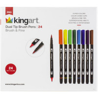 KingArt - Dual Tip Brush Pens - Set of 24